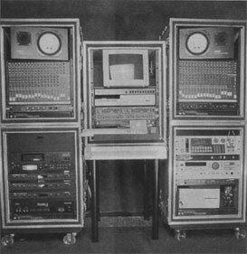 FIG. 1: Bryan Bell designed the Racks of Love to provide INXS drummer John Ferris wth a mobile composition system. Each rack can be used independently.