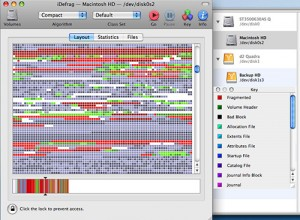 FIG. 2: This screen from Coriolis Systems iDefrag 1.6.4 for Macintosh shows parts of files scattered about. This is called fragmentation.