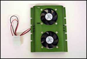 FIG. 3: This double-fan hard-drive cooler ($7.95) from Computer Fan Outlet (www.computerfanoutlet.com) sports twin 50x50x10 mm fans.