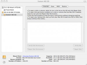 FIG. 5: Apple's Disk Utility comes free with OS X and offers a number of important features, including verification and repair of the disk and of disk permissions.